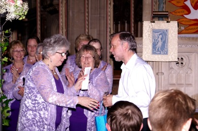 Our accompanist, Nigel, receives a gift of thanks