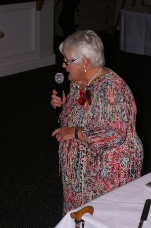 Joan Biscoe delivers her witty speech.